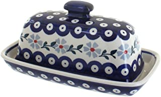 Blue Rose Polish Pottery Blue Violet Butter Dish