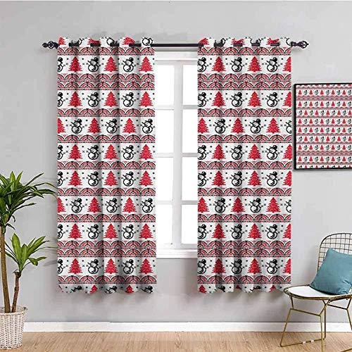 LWXBJX Opacas Cortinas Dormitorio - Retro muñeco de Nieve Rojo Pino - Impresión 3D Aislantes de Frío y Calor 90% Opacas Cortinas - 280 x 260 cm - Salon Cocina Habitacion Niño Moderna Decorativa