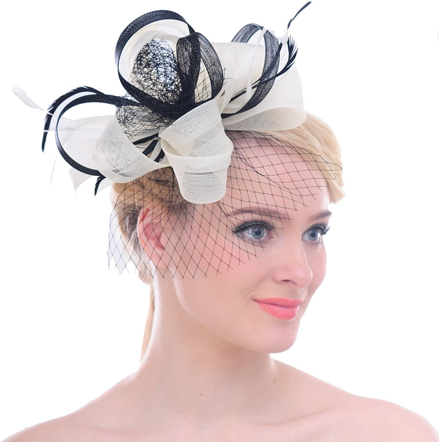 FAYBOX Mesh Net Feathers Big Flower Bow Women Lady Fascinator Hair Clip Headwear