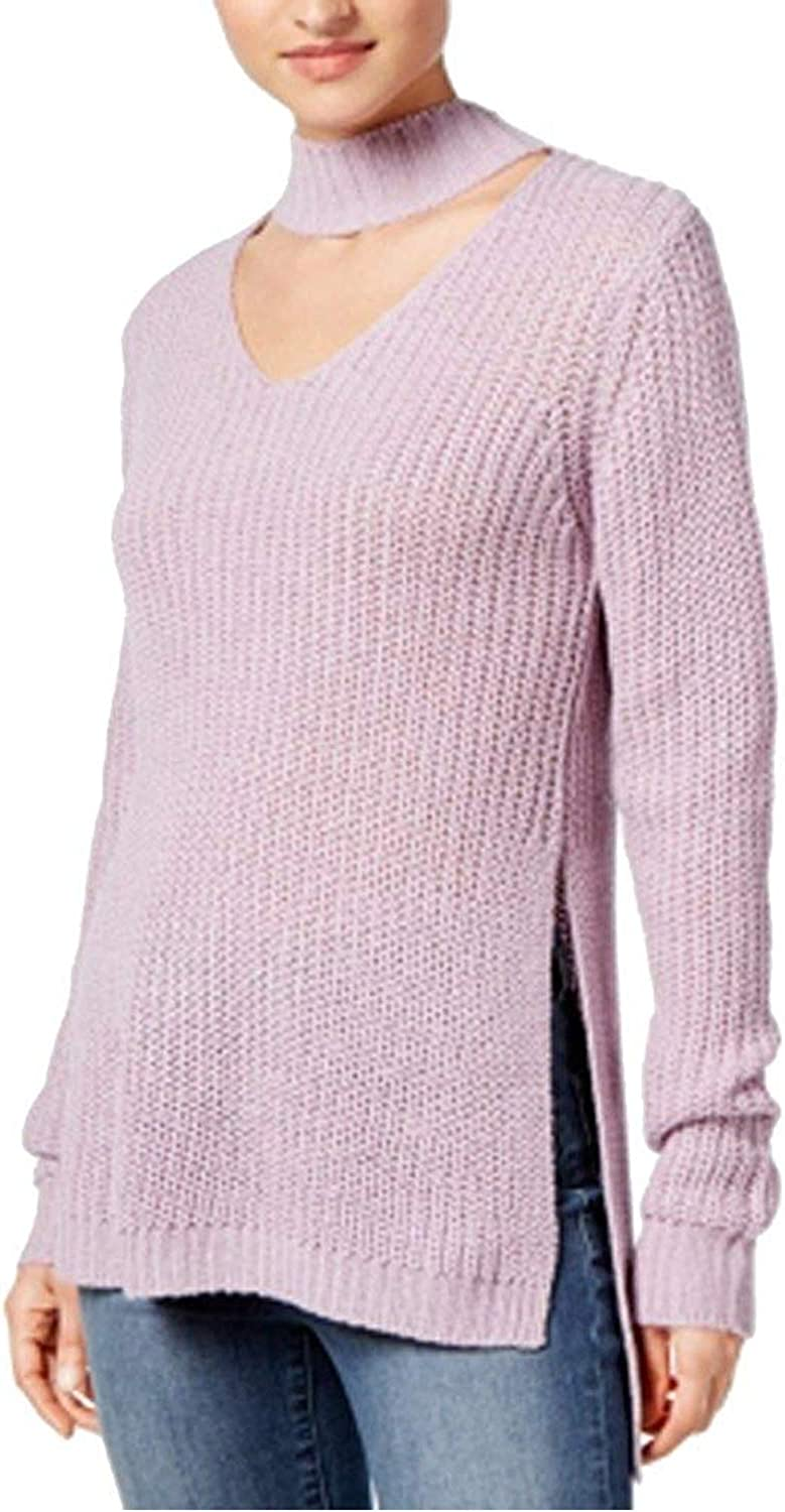 Planet Gold Womens Cut-Out Long Sleeves Choker Sweater