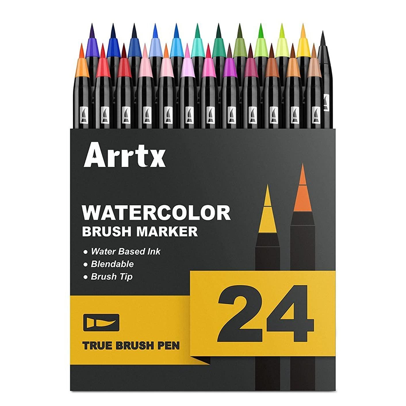 Arrtx Watercolor Markers, 24 Colors Real Brush Pens Water Based Watercolor Brush Pens with Flexible Brush Tips for Painting, Drawing, Coloring, Calligraphy, Manga and More