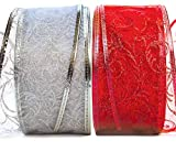 Christmas Ribbon Wired Holiday Ribbon Sheer Organza Set Red & Silver Wire Edged Ribbons for Gift Wrapping, Xmas Crafts Presents, Craft Floral Arrangement/Flower Bouquet Supplies & Valentine Decoration