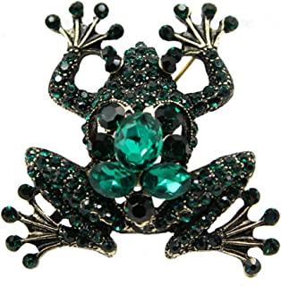 FHKVQOP Rhinestone Flower Brooches for Women Black Color Brooch Pin Jewelry Gift