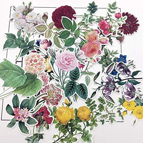 ZZHH 15 Piezas Pintado a Mano Acuarela Vintage Grandes Pegatinas de Flores Pegatina Decorativa Cuaderno planificador álbum de Recortes Papel DIY