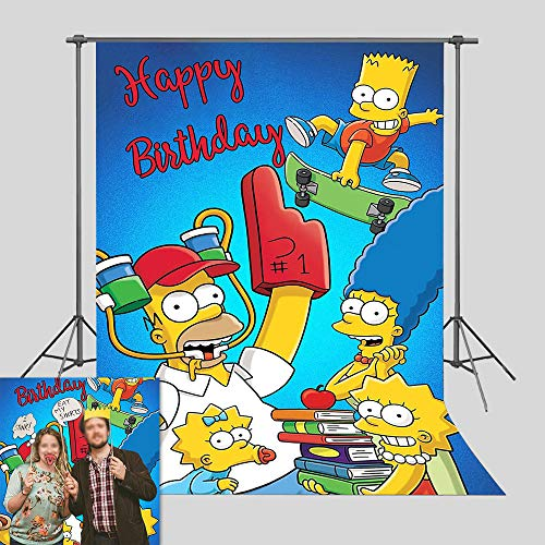 Cartoon TV Series Photography Backdrop 5x7ft Vinyl Simpson Family Photo Background for Children Happy Birthday Decorations Photo Booths Props Baby Shower Supplies Baby Kids Bedroom Decor