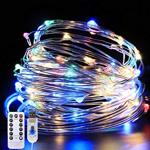 Luci per Tende a LED,JarGaBo10 x 3m 300LED Catene Luminose con Telecomando 8 Modalità Impermeabile LED Tenda Luminosa,USB e Alimentato a Batteria Tenda Luci Led per Esterni Interni(Multicolore)