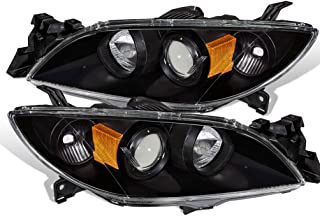 For 03-09 Mazda 3 Halo Projector Replacement Black Pair Headlights Headlamps Amber Reflector