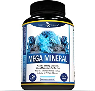 MultiMineral Plus 1000mg Calcium Magnesium Zinc D3 Supplement - All 72 Trace Minerals- Iron Free - Supports Bone Strength,...