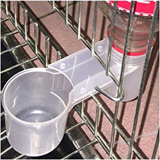 FKYou 20 Pcs Portable Plastic Aviary Cage Transparent Drinker Cup Water Bottle Bird Feeder Poultry Pigeon Feeder Waterer A...