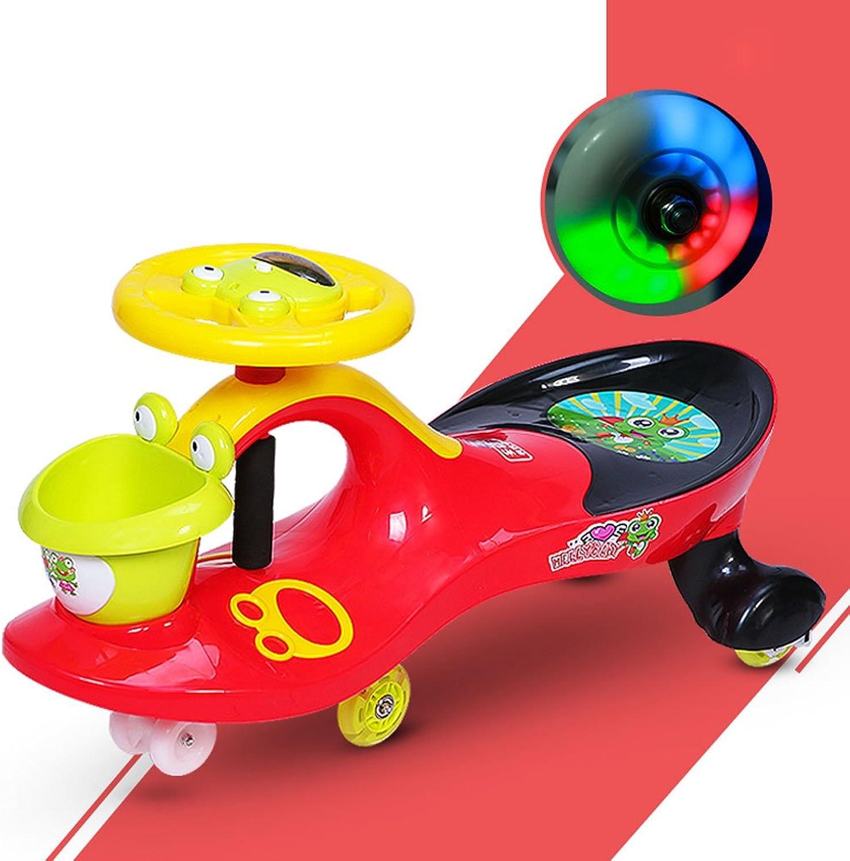 muy popular Fenfen Niños Twist Twist Twist Coche Baby Yo Coche Swing Coche Mute Flash Wheel Juguete Coche con música 1-3-6 años de Edad 80  30  41.5cm (Color   rojo)  Envío 100% gratuito