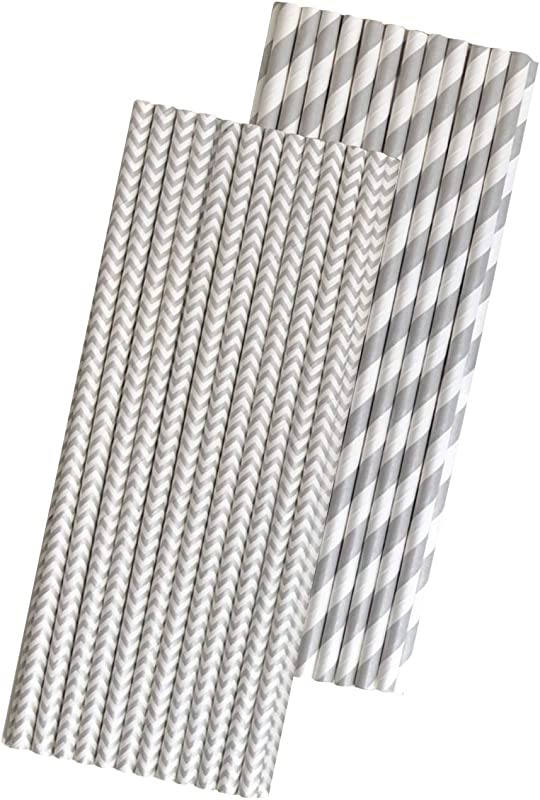 Silver And White Paper Straws Stripe And Chevron 7 75 Inches 50 Pack Outside The Box Papers Brand