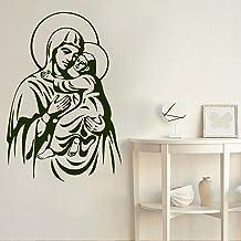 mlpnko Etiqueta de la Pared Madre María Bebé Jesús Niño Habitación del bebé Decoración Familiar Ventana Calcomanía Mural,CJX12589-42x61cm