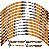 Etiqueta engomada de la Rueda 12 x Borde de Grueso Etiqueta Exterior Etiqueta Etiqueta de la Rueda de la Raya Ajuste Todo MT-09 MT09 (Color : Orange)