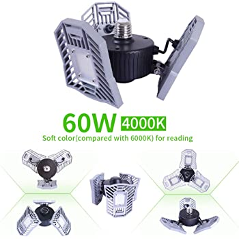 JUMOWA Led Garage Lights,Waterproof 360 Degrees LED Ceiling E26//E27 Shop Light for Basement Workshop