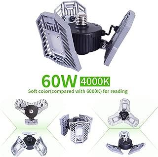 NATHOME LED Garage Lights,60W E26 Naturelight/4000k 6000lm/adjustable Directional Garage Lighting, Indoor use for Led Shop Lights,Workshop Light,Garage Work Lights (Naturelight(4000K), 60W