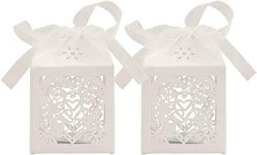 BESTOMZ 30pcs Delicate Heart Shaped Cutout Paper Gift Box,with Lace Ribbon,Decorative Treats Boxes, Cake,Cookies,Goodies,Candy(5x5x8cm)