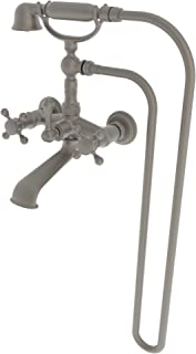 Newport Brass 934/03W Chesterfield Wall Mounted Clawfoot Tub Filler with Handshower and Metal Cross Ha, Weathered Brass