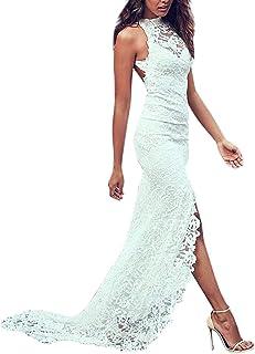 Behkiuoda Women O-Neck Lace Crochet Wedding Dress Elegant Long Cocktail Dress for Party Dress