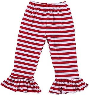 Wennikids Big Girls Ruffle Soft Cotton Flare Pants 6-12T
