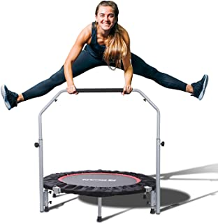"""BCAN 40"""" Foldable Mini Trampoline, Fitness Rebounder with Adjustable Foam Handle,.."""