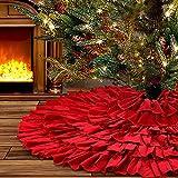 yuboo Red Ruffle Christmas Tree Skirt, 48 inches 6-Layer Rustic Xmas Tree Holiday Decorati...