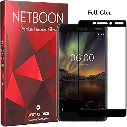 NETBOON 3D Full Glue Tempered Glass Screen Protector Edge to Edge Cover Screen Guard Gorilla Glass for Nokia 6.1 (2018) - Black
