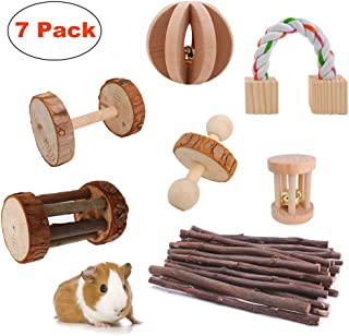 JanYoo Rat Chinchilla Toys Guinea Pig Accessories Bunny Chew Toys for Bird Rabbits Hamster Gerbil Pack of 7