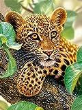Kit de pintura de diamantes 5D,Árboles, hojas muertas, animales, leopardo Taladro redondo punto de cruz, bordado, artesanía para adultos, niños, para decoración del hogar