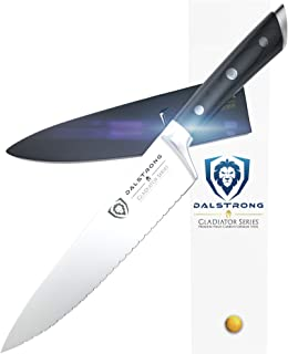 DALSTRONG Cuchillo de chef serrado – Serie Gladiador – ThyssenKrupp forjado acero alemán de alto carbono – Full Tang (7,4 cm, cuchillo de chef dentado), color negro