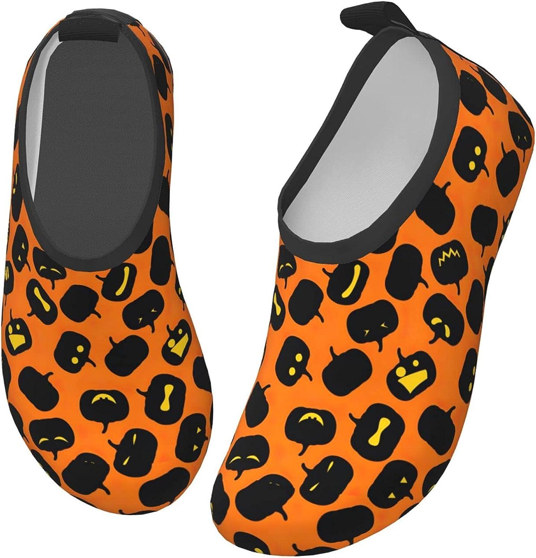 Bluebluesky Halloween Cartoon Pattern Kids Swim Water Shoes, Non-Slip Quick Dry Barefoot Aqua Pool Socks Shoes for Boys & Girls Toddler