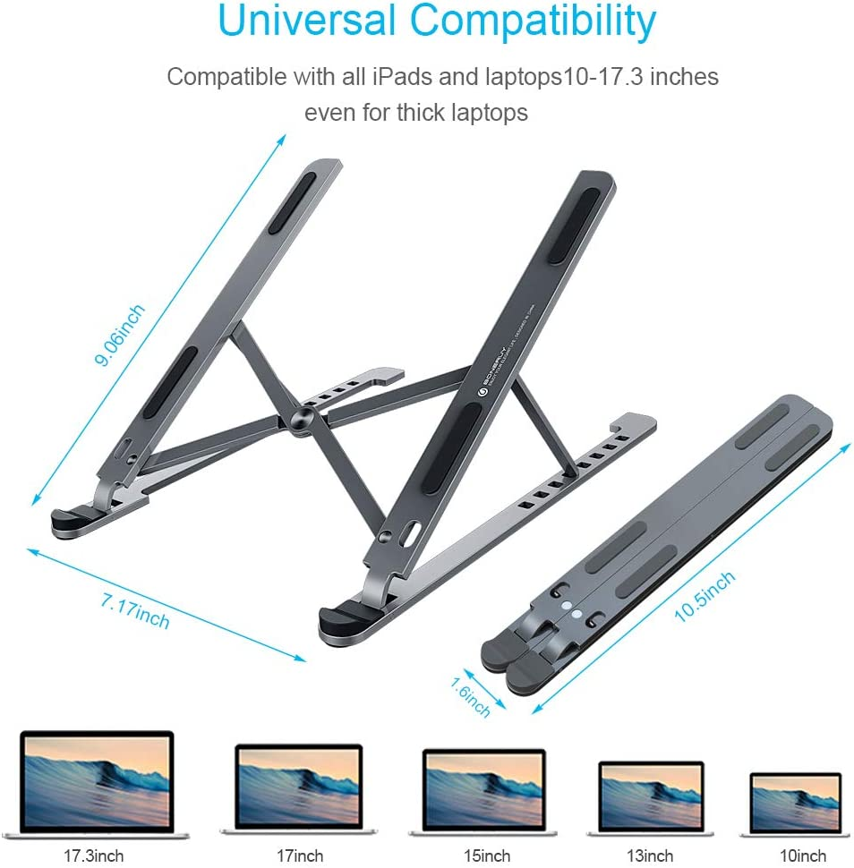 Beacon Pet Laptop Stand Foldable Tablet Stand Book Supports up to 30lbs,Compatible with 10-17.3 Laptop Pad 8 Levels Height Adjustable Tablet Portable Aluminum Computer Stand