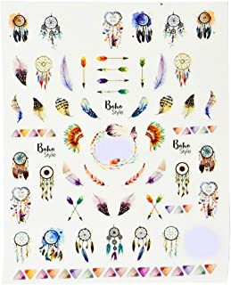 1 Pc Dream Catcher Nails Art Stickers Pink Feather Label Water Transfer Foil Adhesive Acrylic Glitter Manicure Tips Eminent Popular Gel Polish Design Women Line Stencil Nail Wrap Decal, Type-03