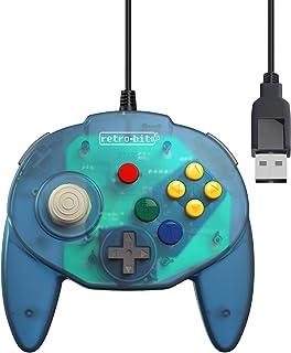 Retro-Bit Tribute 64 USB Controller for PC, Switch, Mac, Steam, RetroPie, Raspberry Pi - USB Port - (Ocean Blue)