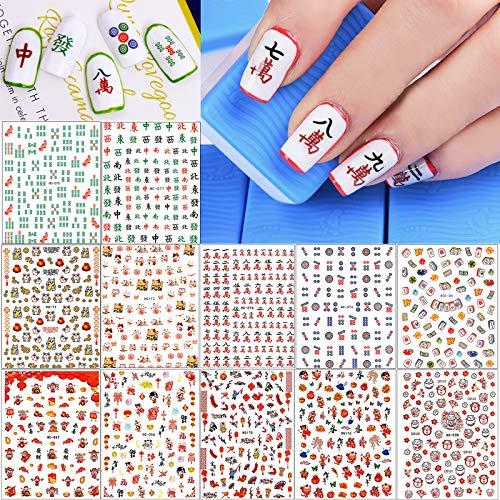 Pegatinas Uñas, Kalolary 12pcs Año Nuevo Nail Art Stickers Calcomanías Pegatina Autoadhesiva para Decoración de Uñas para Mujeres Manicura Decoración Uñas Accesorios Suministros