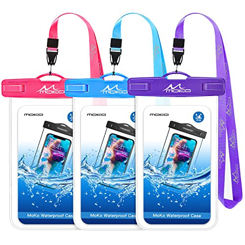 MoKo Waterproof Phone Pouch [3 Pack], Underwater Clear Phone Case Dry Bag with Lanyard Compatible with iPhone 11/11 Pro Max, X/Xs/Xr/Xs Max, 8/7/6 Plus, Galaxy S10/S9/S8 Plus, S10e, S20, Note 10/9/8