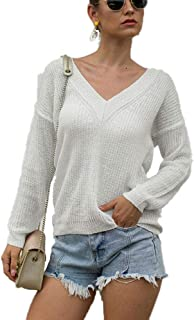 Plus Size Lightweight Sweater Knit Bottoming Shirt Sexy deep v-Neck Knit Sweater Long-Sleeved Pullover