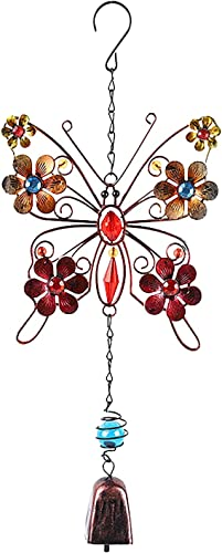lowest Metal and Glass Butterfly Hanging Decoration Vintage sale Metal Wind outlet sale Chime Hanging Decoration Butterfly Wind Chime Garden Decor Gifts for Women outlet online sale