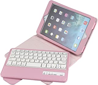 Eoso Folding Leather Folio Cover with Removable Bluetooth Keyboard for iPad Mini 1/2/3/4/5 (Pink)