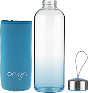 ORIGIN Best BPA-Free 100% Borosilicate Glass Water Bottle With Protective Neoprene Sleeve and Leak-Proof Stainless Steel Lid | Dishwasher Safe (Aqua Blue, 32 Oz)