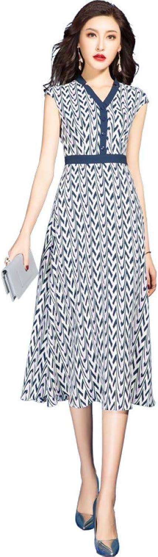 BINGQZ Cocktail Dresses Summer dress women's temperament slim waist a word skirt V-neck floral dress