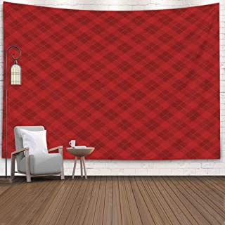 Jacrane Wall Decor Hanging, Tapestries with 80X60 Inches Christmas Lumberjack Checkered Square Plaid Red Seamless Pattern Background Art Tapestry for Dorm Bedroom Living Home Decor