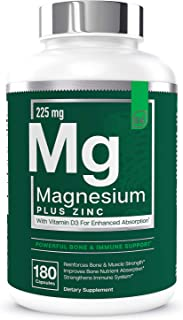 Magnesium + Zinc with Vitamin D3 by Essential Elements - Immune & Bone Support | Magnesium Glycinate, Citrate, Malate - Hi...