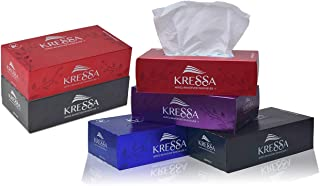 Kressa 2 Ply Facial Tissue Box   Face Tissue   6 Boxes 100 Pulls Per Box With Total 600 Pulls Made Of 100% Imported Natura...