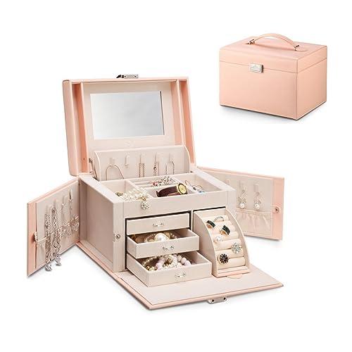 6377f2240 Vlando Jewelry Box, Faux Leather Medium Jewelry Organizer, Vintage Gift for  Women -Pink