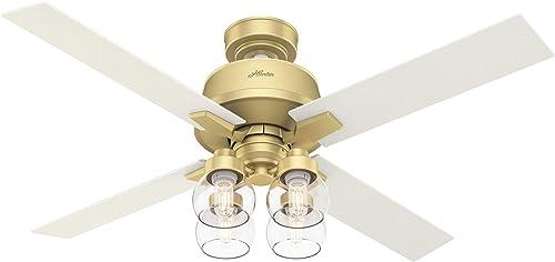 discount Hunter Fan Company 59651 Viven Ceiling Fan, 52, Modern outlet online sale Brass online Finish sale