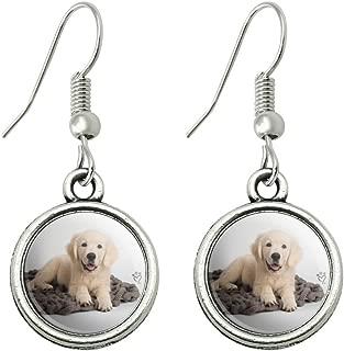 Golden Retriever Puppy Dog Knotty Blanket Novelty Dangling Drop Charm Earrings