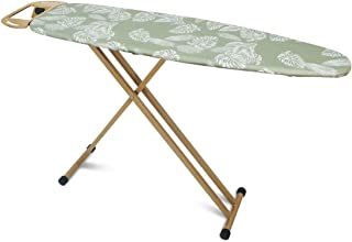 """Duwee Ironing Board with Heat Resistant Cover and 10mm Thicken Felt Padding,Strong Steel T-Legs,Safety Stream Iron Rest,Clothes Hanger,14""""x54""""Ironing Area"""
