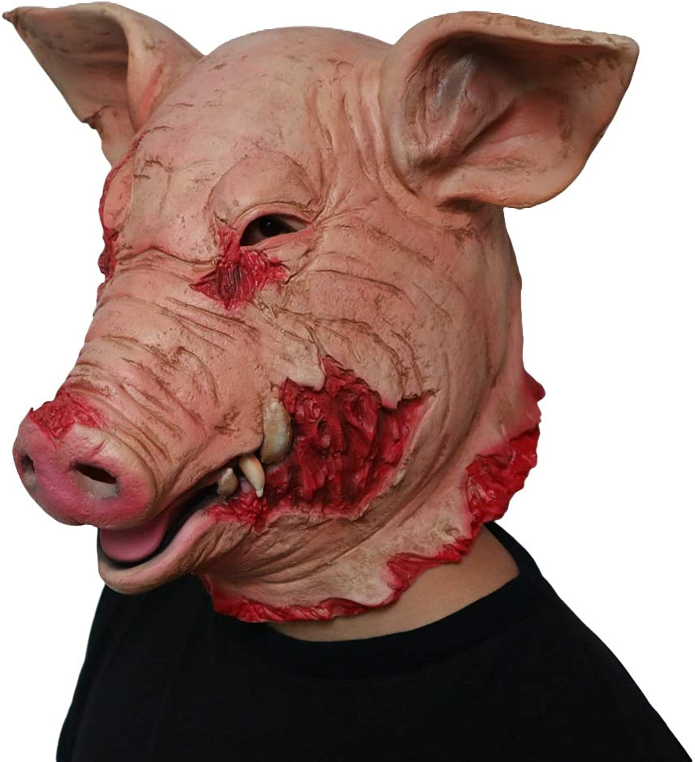 Horror Pig Overhead Animal Mask Latex Pig Mask Halloween Costume Scary Saw Pig Mask Full Head Horror Evil Animal Prop