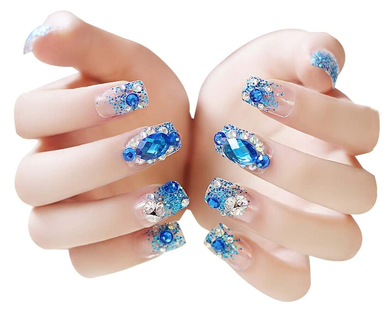 乳インゲン爬虫類美しいブルーのラインストーンの結婚式の偽の爪クリスタル偽のネイルアートセット、2パック - 48枚