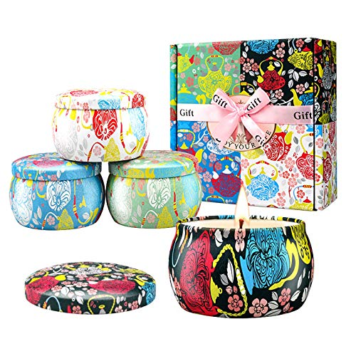 Large Size Scented Candles Gifts Sets for Women,4.4oz Travel Tin Aromatherapy Soy Candle with Gardenia,Jasmine and Lavender Fragrance Gift for Birthday Mother's Day Christmas Bath Yoga